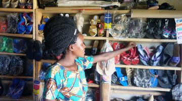 Diversification of income. Nakajjubi deals in shoes,crafts to supliment hair dressing business income.