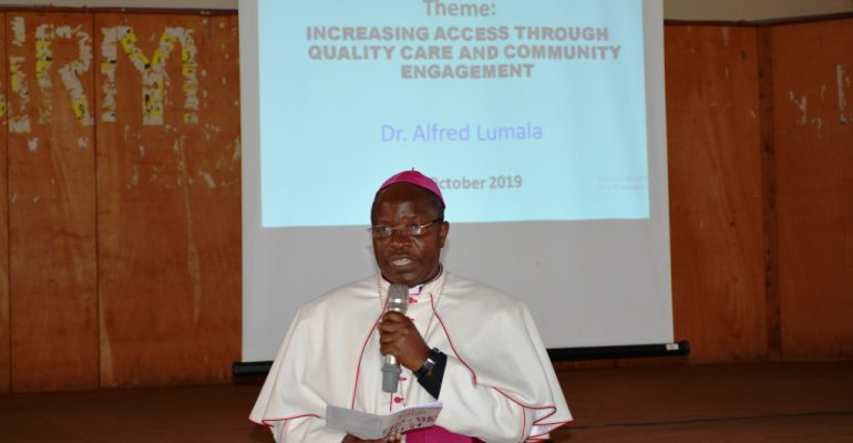 His Lordship,Bishop Jjumba giving opening remarks as the chairman of the